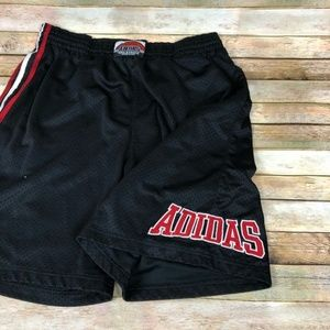 Vintage Adidas Striped Spell-out Basketball Shorts